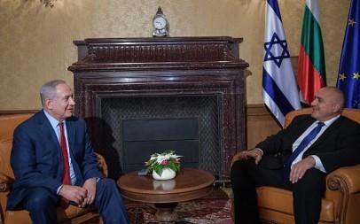 Prime Minister Benjamin Netanyahu meets with Bulgarian Prime Minister Boyko Borissov in Varna, Bulgaria, on November 1, 2018 (Amos Ben Gershom/GPO)