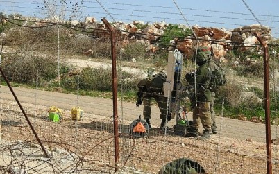 Israeli troops insteall machinery near the town of Meiss al-Jabal in southern Lebanon on December 5, 2018, according to the Hezbollah terror group. (Hezbollah Military Media)