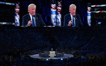 Donald Trump speaks at the 2016 American Israel Public Affairs Committee (AIPAC) Policy Conference at the Verizon Center, March 21, 2016, in Washington. (AP/Evan Vucci)