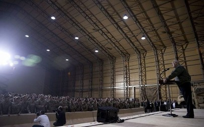 President Donald Trump speaks at a hanger rally at Al Asad Air Base, Iraq, Wednesday, Dec. 26, 2018. (AP/Andrew Harnik)