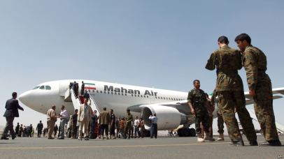 An airplane of Mahan Air sits at the tarmac after landing at Sanaa International Airport in the Yemeni capital on March 1, 2015 a day after officials from the Shiite militia-controlled city signed an aviation agreement with Tehran.