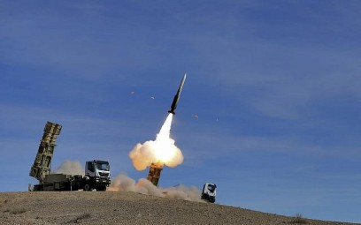 In this photo provided November 5, 2018, by the Iranian Army, a Sayyad 2 missile is fired by the Talash air defense system during drills in an undisclosed location in Iran. (Iranian Army via AP)