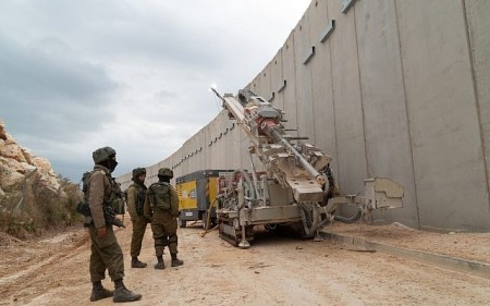 The Israeli military drills into the soil south of the Lebanese border in an effort to locate and destroy Hezbollah attack tunnels that it says entered Israeli territory, on December 5, 2018. (Israel Defense Forces)