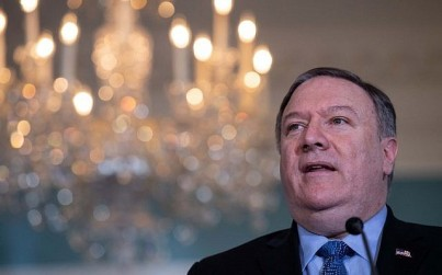 In this file photo taken on December 13, 2018 US Secretary of State Mike Pompeo speaks to the press at the State Department in Washington, DC. (Nicholas Kamm/AFP)