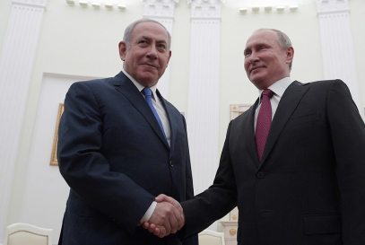Benjamin Netanyahu and Vladimir Putin meeting in Moscow