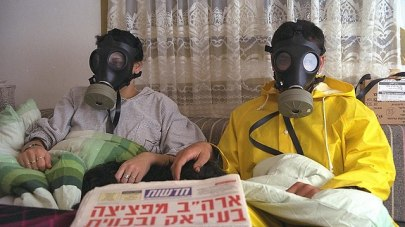 Israelis wearing gas masks during the 1991 Gulf War (Photo: GPO)