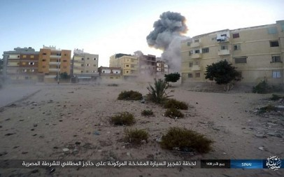 This photo posted on a file sharing website on Jan. 11, 2017, by the Islamic State Group in Sinai shows an explosion during an attack on an Egyptian police checkpoint on Monday, Jan. 9, 2017, in el-Arish, north Sinai, Egypt. (Islamic State Group in Sinai/AP)