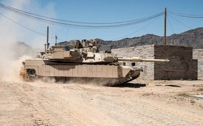 An American Abrams tank equipped with the Israeli-developed TROPHY active defense system, which protects the armored vehicle from rocket and missile attacks, in an undated photograph. (Leonardo DRS and Rafael Advanced Defense Systems Ltd.)