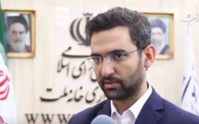 Iran's communications minister Mohammad-Javad Azari Jahromi speaks in a TV interview on August 13, 2017. (screen capture: YouTube)