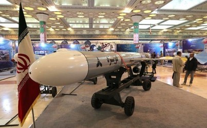 Hoveizeh, Iran's new cruise missile, is seen during an exhibition in the capital Tehran on February 2, 2019.(Atta Kenare/AFP)