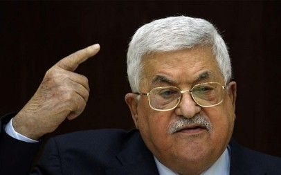 Palestinian Authority President Mahmoud Abbas speaks during a meeting with Palestinian leaders at the Muqata, the Palestinian Authority headquarters, in the West Bank city of Ramallah, on February 20, 2019 (ABBAS MOMANI/AFP)