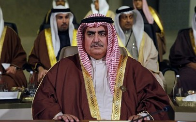 Bahraini Foreign Minister Khalid bin Ahmed al-Khalifa, attends the Arab Economic and Social Development Summit, in Beirut, Lebanon, Sunday, Jan. 20, 2019. (AP Photo/Bilal Hussein)