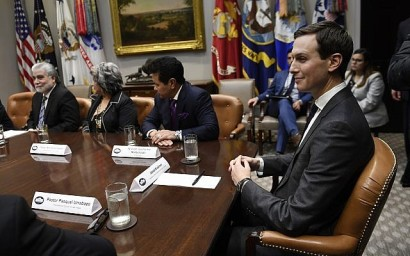 White House adviser Jared Kushner attends a meeting with President Donald Trump and Hispanic pastors in the Roosevelt Room of the White House in Washington, Friday, Jan. 25, 2019. (AP Photo/Susan Walsh)