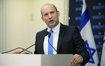 Education Minister Naftali Bennett speaking at a New Right party press conference in Tel Aviv on February 7, 2019. (Tomer Neuberg/Flash90)