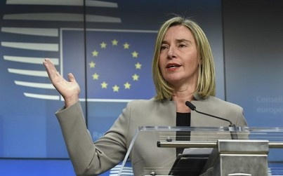 High Representative of the European Union for Foreign Affairs and Security Policy Federica Mogherini gives a joint press conference during a Foreign Affairs Ministerial meeting at the EU headquarters in Brussels on January 21, 2019. (John Thys/AFP)
