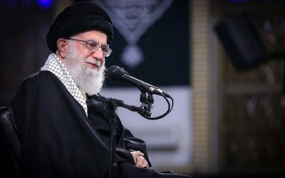 In this picture released by an official website of the office of the Iranian supreme leader, Supreme Leader Ayatollah Ali Khamenei attends a meeting with a group of the air force staff in Tehran, Iran, February 8, 2019. (Office of the Iranian Supreme Leader via AP)