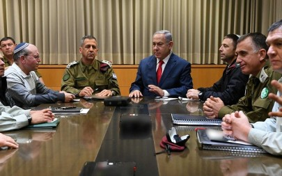 Prime Minister Benjamin Netanyahu (top right) meets with security brass at the IDF's Kirya military headquarters in Tel Aviv on March 14, 2019. (Ariel Hermoni/Defense Ministry)