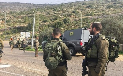 Israeli troops arrive at the scene after a car-ramming attack in which two Israeli servicemen were injured in the central West Bank on March 4, 2019. (Israel Defense Forces)