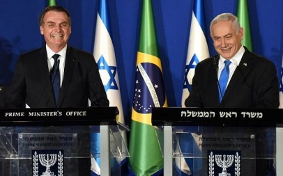 Brazilian President Jair Bolsonaro, left, and Israeli Prime Minister Benjamin Netanyahu speak during a joint press conference at the Prime Minister's Residence in Jerusalem on March 31, 2019. (DEBBIE HILL/POOL/AFP)