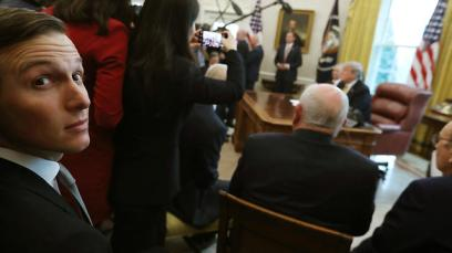 White House senior advisor Jared Kushner looks on as US President Trump speaks at the White House