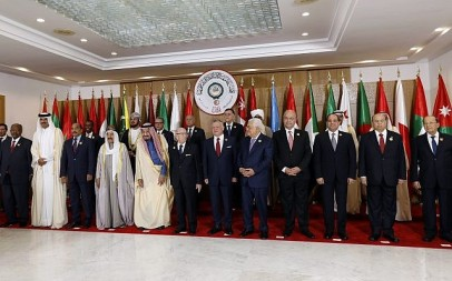 Arab leaders pose for the camera, ahead of the 30th Arab Summit in Tunis, Tunisia, March 31, 2019. (Zoubeir Souissi, Pool photo via AP)