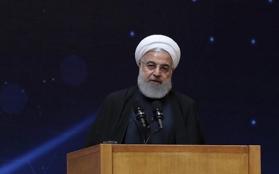 "Iranian President Hassan Rouhani at a ceremony commemorating ""National Day of Nuclear Technology"" in Tehran, Iran on, April 9, 2019. (Iranian Presidency Office via AP)"
