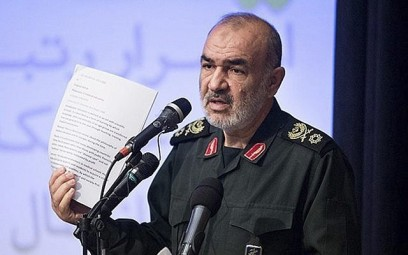 In this undated photo released by Sepahnews, the website of the Iranian Revolutionary Guard, Gen. Hossein Salami speaks in a meeting in Tehran, Iran (Sepahnews via AP)