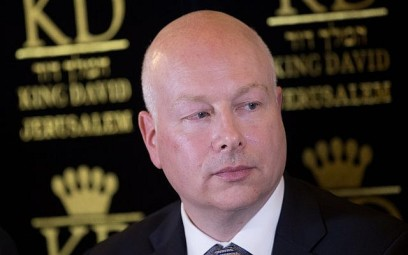 US Special Envoy Jason Greenblatt attends a press conference regarding the water agreement between Israel and the Palestinian Authority, on July 13, 2017. (Yonatan Sindel/ Flash90)