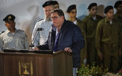 Shimon Baumel, brother of Zachary Baumel, who went missing at the Battle of Sultan Yacoub in 1982, speaks during his funeral at the Mount Herzl Military cemetery in Jerusalem on April 4, 2019. (Hadas Parush/Flash90