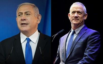Prime Minister Benjamin Netanyahu, left, and Benny Gantz, right. (Hadas Parush/Tomer Neuberg/Flash90)