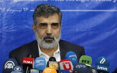 Spokesman of the Atomic Energy Organization of Iran (AEOI), Behrouz Kamalvandi answers the press in the capital Tehran on July 17, 2018. (AFP PHOTO / ATTA KENARE)