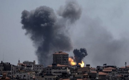 A picture taken from the Gaza Strip on May 4, 2019, shows smoke billowing following an airstrike by Israel in response to rockets fired by Palestinian terrorists. (MAHMUD HAMS / AFP)