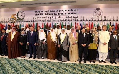 Arab and Islamic states foreign ministers pose for a family picture during a meeting of the Organisation of Islamic Cooperation (OIC) and Arab League member states' top diplomats in Jeddah on May 30, 2019,  ahead of the Gulf, Arab, and Islamic summits to be held in the holy city of Mecca on May 30 and 31, 2019. (BANDAR ALDANDANI / AFP)