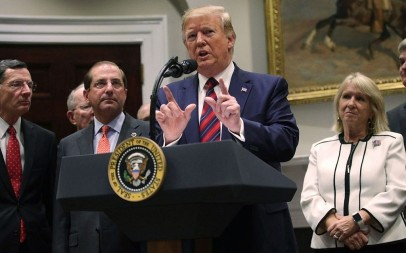 US President Donald Trump speaks in a Roosevelt Room event at the White House, May 9, 2019. (Alex Wong/Getty Images via JTA)
