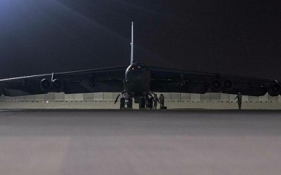 In this Thursday, May 9, 2019 photograph released by the US Air Force, a B-52H Stratofortress assigned to the 20th Expeditionary Bomb Squadron is parked on the ramp at Al Udeid Air Base, Qatar (Senior Airman Keifer Bowes, US Air Force via AP)