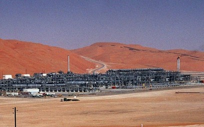 Illustrative photo from 2004 of an industrial plant that strips natural gas from freshly pumped crude oil at Saudi Aramco's Shaybah oil field at Shaybah in Saudi Arabia's Rub al-Khali desert. (AP Photo/Bruce Stanley, File)