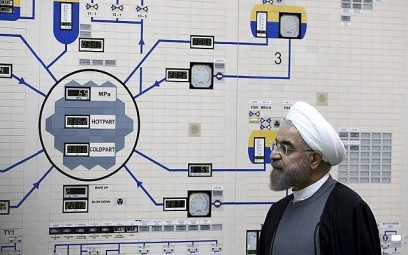 Iranian President's Office, President Hassan Rouhani visits the Bushehr nuclear power plant just outside of Bushehr, Iran, January 13, 2015. (Iranian Presidency Office, Mohammad Berno/AP)
