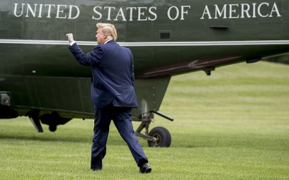 US President Donald Trump walks on the South Lawn of the White House in Washington, May 8, 2019. (Andrew Harnik/AP)