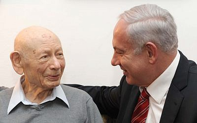 Benzion, left, and Benjamin Netanyahu (photo credit: Avi Ohayon/GPO/Flash90)