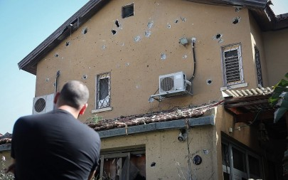 The house of Moshe Agadi, 58, killed from shrapnel wounds after his house was hit by a rocket fired from the Gaza Strip in Ashkelon, southern Israel on May 5, 2019. (Noam Rivkin Fenton/Flash90)