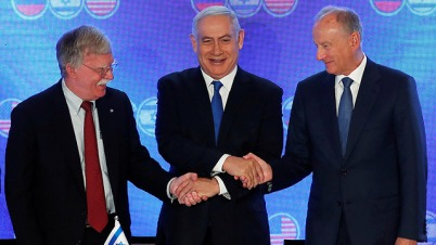 U.S. National Security Adviser John Bolton, Prime Minister Benjamin Netanyahu and Russian Security Council Secretary Nikolai Patrushev  (Photo: Reuters)