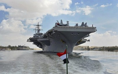 The USS Abraham Lincoln sails south in the Suez canal near Ismailia toward the Persian Gulf, May 9, 2019. (Suez Canal Authority via AP)