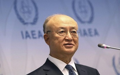 Director General of the International Atomic Energy Agency, IAEA, Yukiya Amano of Japan, addresses the media during a news conference after a meeting of the IAEA board of governors at the International Center in Vienna, Austria, June 4, 2018. (Ronald Zak/AP)