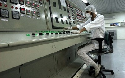 A technician at the Uranium Conversion Facility just outside the city of Isfahan, Iran, 255 miles (410 kilometers) south of the capital Tehran, February 3, 2007. (AP/Vahid Salemi/File)