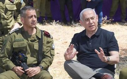 Prime Minister Benjamin Netanyahu and IDF Chief of Staff Aviv Kohavi attend a drill in northern Israel (Amos Ben Gershom/GPO)