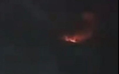 Explosions on the T-4 base in northern Syria reportedly caused by an Israeli airstrike on June 2 2019 (Screencapture/Twitter)