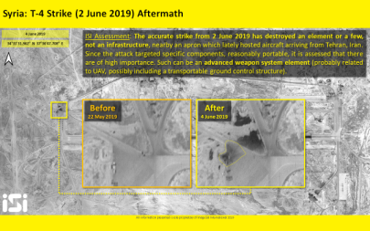 Satellite photos released by ImageSat International shows the aftermath of an airstrike attributed to Israel that targeted the Syrian T-4 air base near Palmyra on June 2, 2019. (ImageSat International)