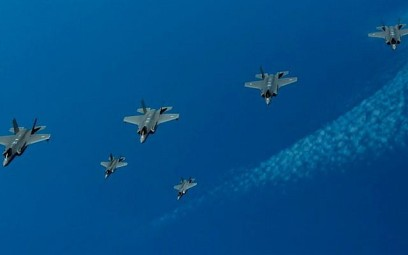 F-35 fighter jets from Israel, the United States and the United Kingdom take part in an aerial exercise over the Mediterranean Sea on June 25, 2019. (Israel Defense Forces)
