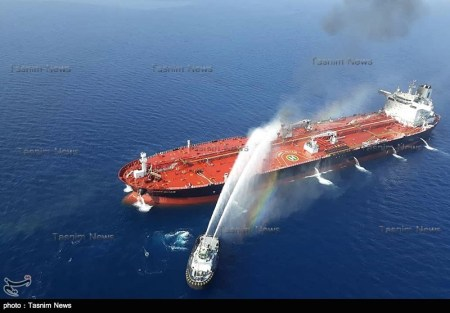 One of the tankers hit in the Gulf of Oman (Tasnim, June 13, 2019)