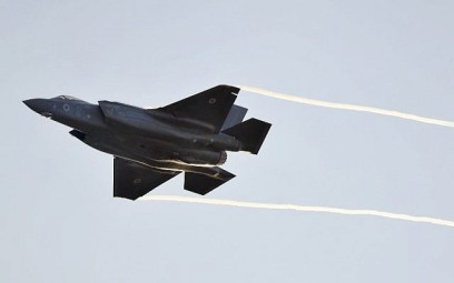Illustrative: An Israeli Air Force F-35 Lightning II fighter jet takes part in a graduation ceremony for IAF pilots at the Hatzerim base in Israel's Negev desert on December 26, 2018. (Jack Guez/AFP)